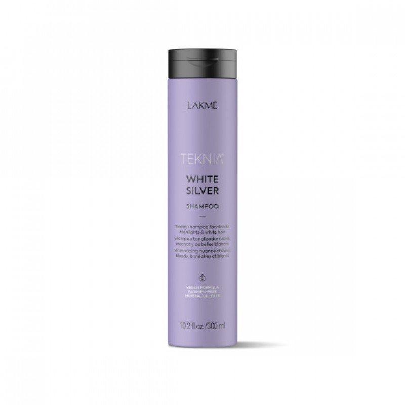 Тонуючий шампунь для нейтралізації жовтого відтінку волосся Lakme Teknia White Silver Shampoo