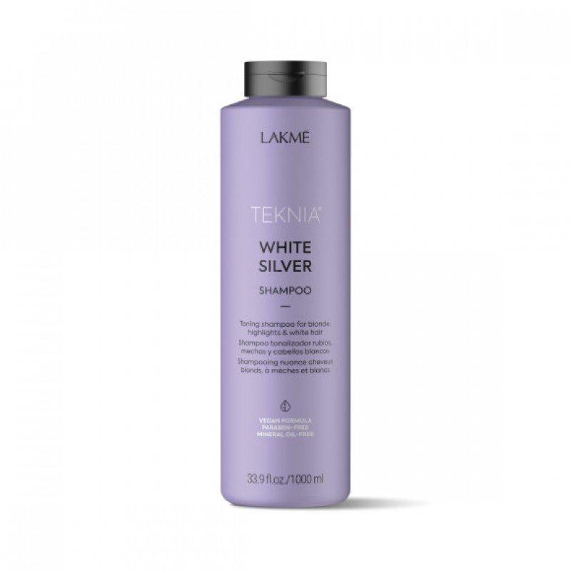 Тонуючий шампунь для нейтралізації жовтого відтінку волосся Lakme Teknia White Silver Shampoo 1000 мл