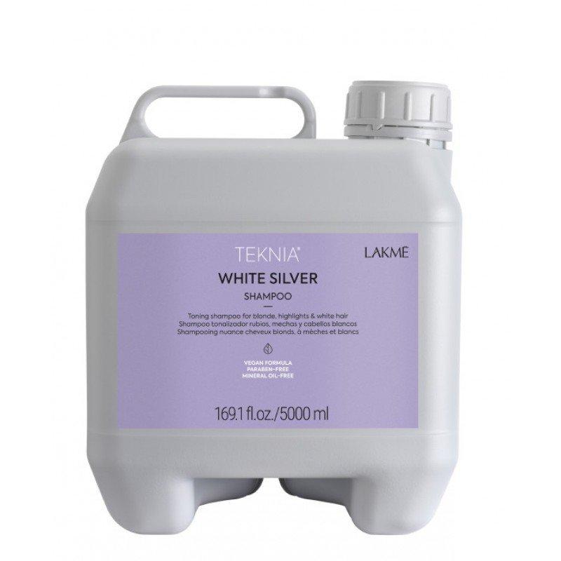 Тонуючий шампунь для нейтралізації жовтого відтінку волосся Lakme Teknia White Silver Shampoo 5000 мл